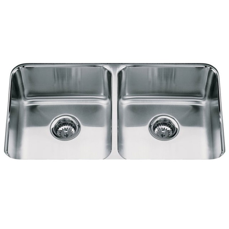 Kohler Undermount Stainless Steel Sink : kohler icerock 3350 na a large double bowl under mount sink which ...