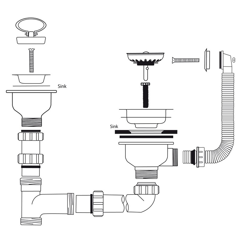 Caple Cpk1101 Stainless Steel Waste And Bowl Connection Kit