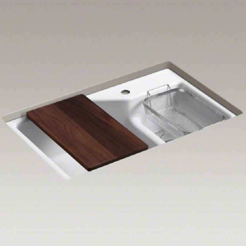 Kohler Indio Undermount Cast Iron Kitchen Sink inc Smart Divide - 6411