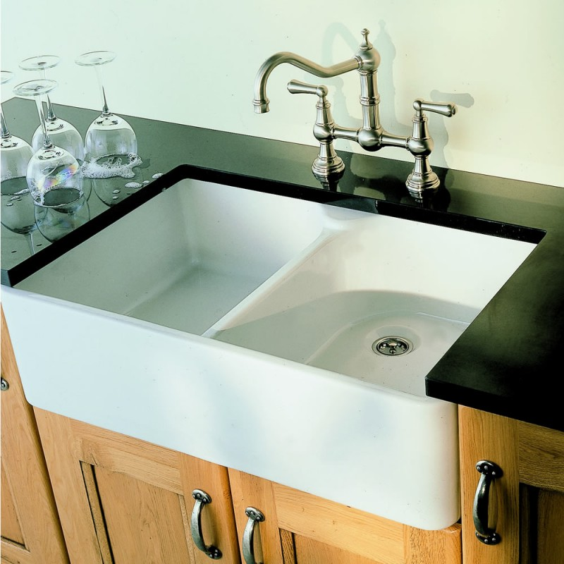 Villeroy and boch farmhouse 80 double bowl ceramic sink for 200mm wide kitchen unit